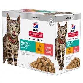 Hill's Perfect Weight Wet Cat Food Pouch Chicken & Salmon Flavour