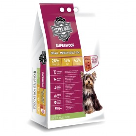 Ultra Dog Superwoof  Small-Medium Adult Dry Dog Food Beef and Rice Flavour